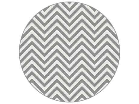 Tayse Metro Transitional Gray Machine Made Jute Chevron 5'3'' Round Area Rug - 1019 Gray 6' Round