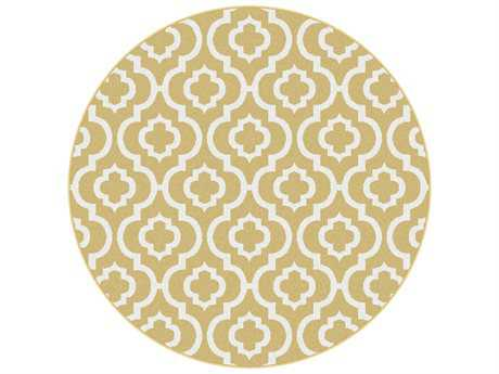 Tayse Metro Transitional Yellow Machine Made Jute Moroccan 5'3'' Round Area Rug - 1023 Yellow 6' Round