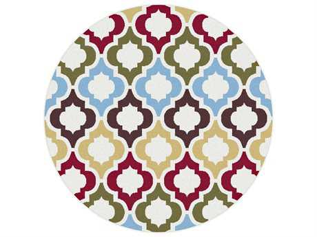 Tayse Metro Transitional Red Machine Made Jute Moroccan 7'10'' Round Area Rug - 1025 Multi 8' Round