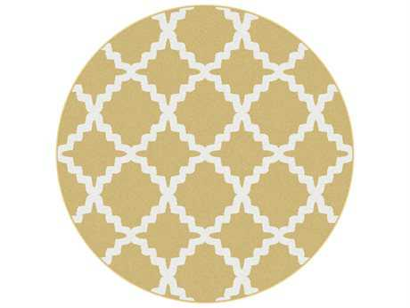 Tayse Metro Transitional Yellow Machine Made Jute Geometric 5'3'' Round Area Rug - 1033 Yellow 6' Round