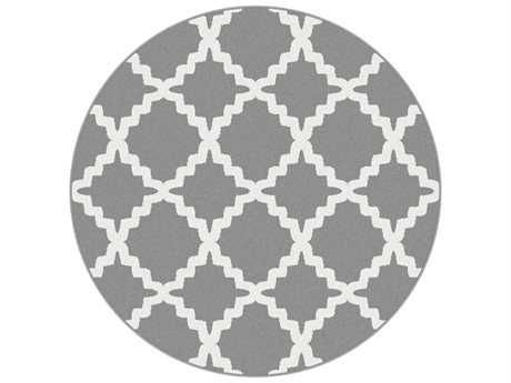 Tayse Metro Transitional Gray Machine Made Jute Geometric 5'3'' Round Area Rug - 1039 Gray 6' Round