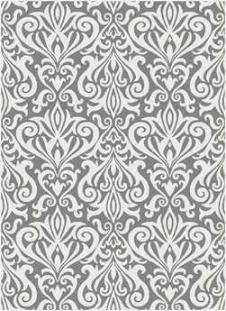 Tayse Metro Transitional Gray Machine Made Jute Damask 5'3'' x 7'3'' Area Rug - 1099 Gray 5x8