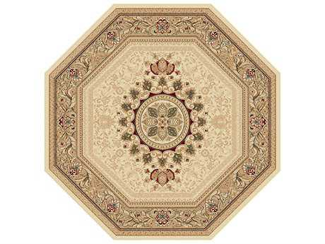 Tayse Sensation Traditional Beige Machine Made Synthetic Floral/Botanical 5'3'' Octagon Area Rug - 4672 Ivory 6' Octagon