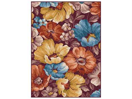 Tayse Expressions Modern Beige Machine Made Synthetic Floral/Botanical 5'3'' x 7'3'' Area Rug - EXP1401 5x8