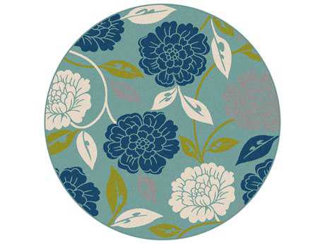 Tayse Garden City Modern Blue Machine Made Synthetic Floral/Botanical Area Rug- GCT1032-ROU