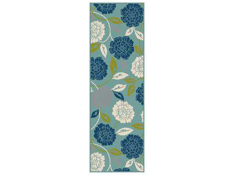 Tayse Garden City Modern Blue Machine Made Synthetic Floral/Botanical Area Rug- GCT1032-RUN