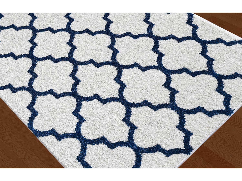 tayse rugs modern shag mackenzie rectangular white navy area rug mdr1006 white. Black Bedroom Furniture Sets. Home Design Ideas