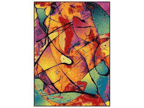 Tayse Symphony Modern Orange Machine Made Synthetic Abstract 5'3'' x 7'3'' Area Rug - SMP1007 Multi 5x8