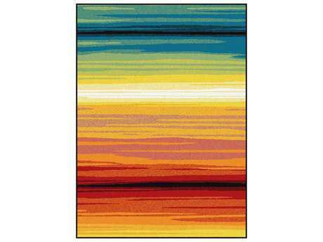 Tayse Symphony Modern Orange Machine Made Synthetic Stripes 5'3'' x 7'3'' Area Rug - SMP1008 Multi 5x8