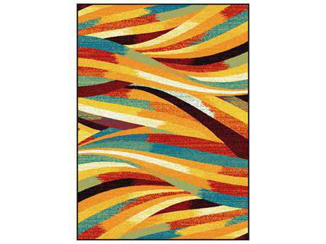 Tayse Symphony Modern Orange Machine Made Synthetic Abstract 5'3'' x 7'3'' Area Rug - SMP1011 Multi 5x8