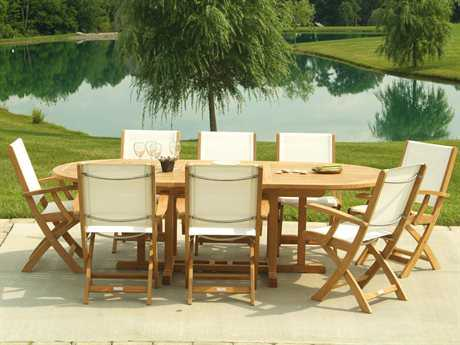 Three Birds Casual Riviera Teak 8 or more Sling Casual Patio Dining Set