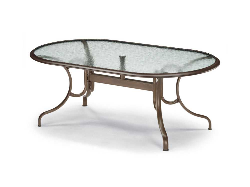 Telescope Casual Glass Top  X  Oval Dining Table With Umbrella - Glass oval dining table