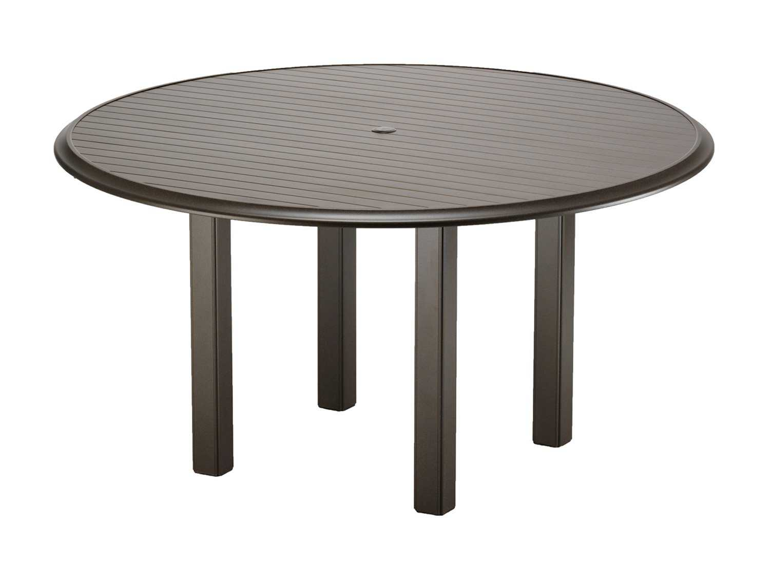 Telescope casual aluminum slat top 56 round chat table for Table umbrella