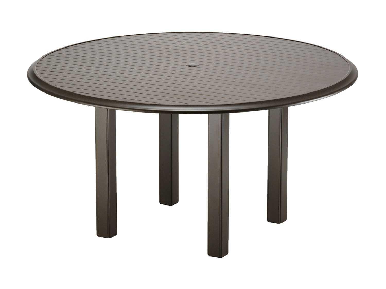 Telescope casual aluminum slat top 56 round chat table for Patio table umbrella