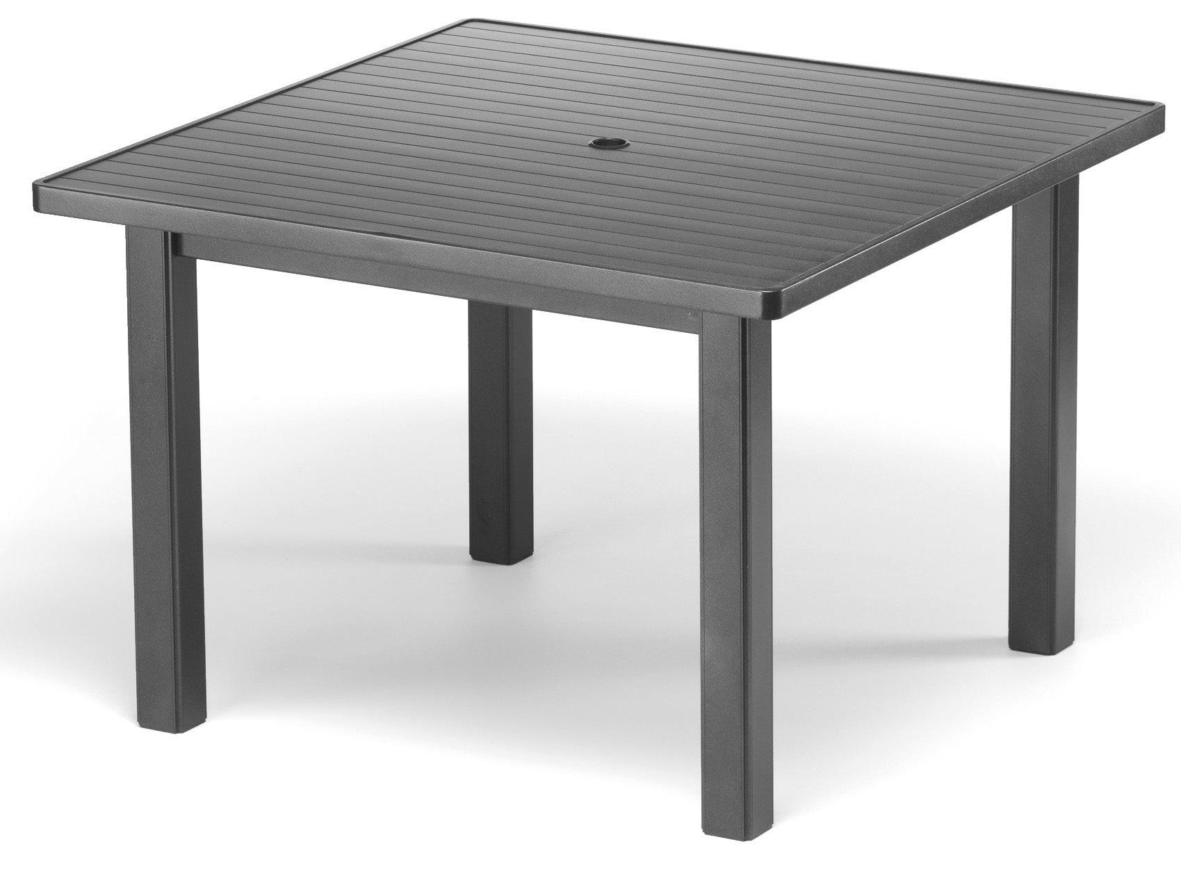 Telescope Casual Aluminum Slat Top 42 Square Dining Table