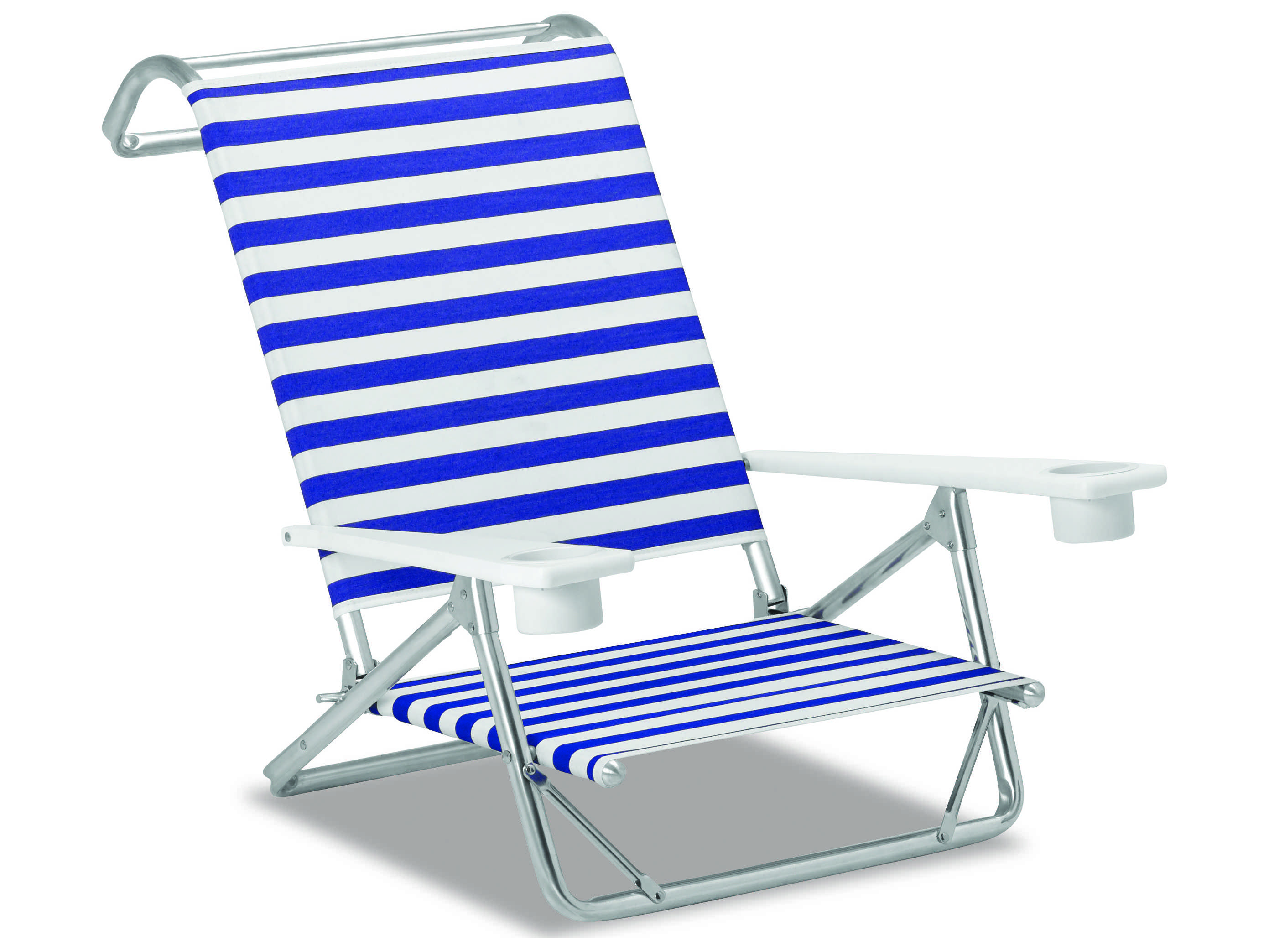 Telescope Casual Beach Chairs Aluminum with Cup Holder Sling Lounge Set