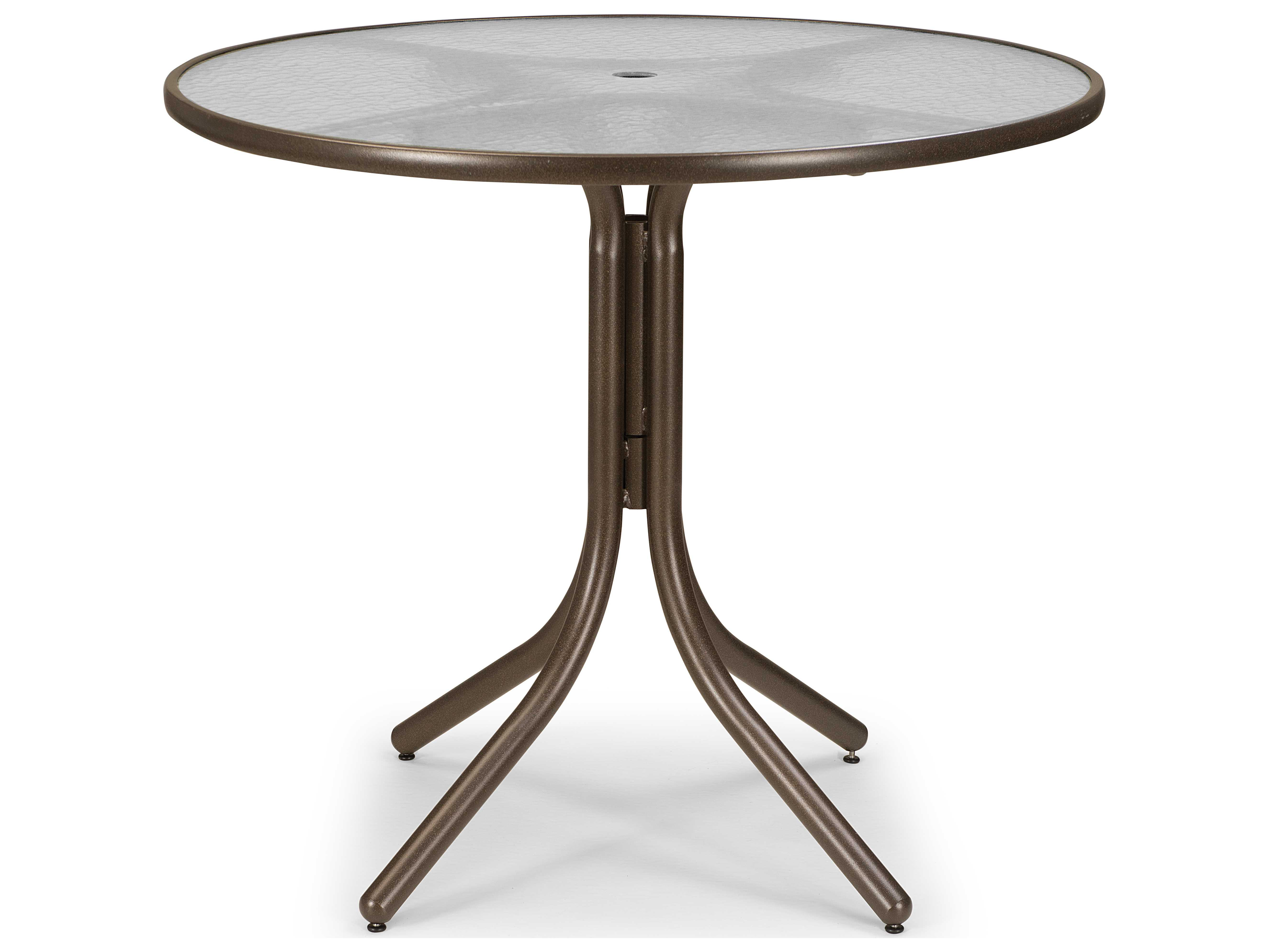 ... Glass 42 Round Balcony Height Table with Umbrella Hole 5900BAL