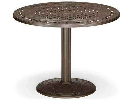Telescope Casual Cast Aluminum 48 Round Dining Table with Umbrella Hole