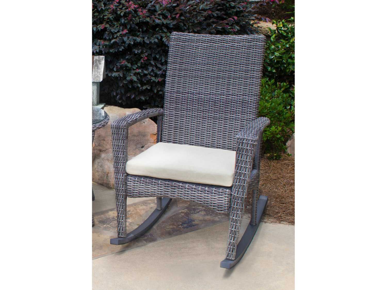 Tortuga Outdoor Bayview Wicker Cushion Rocking Lounge Chair BAY R DRIFTWOOD