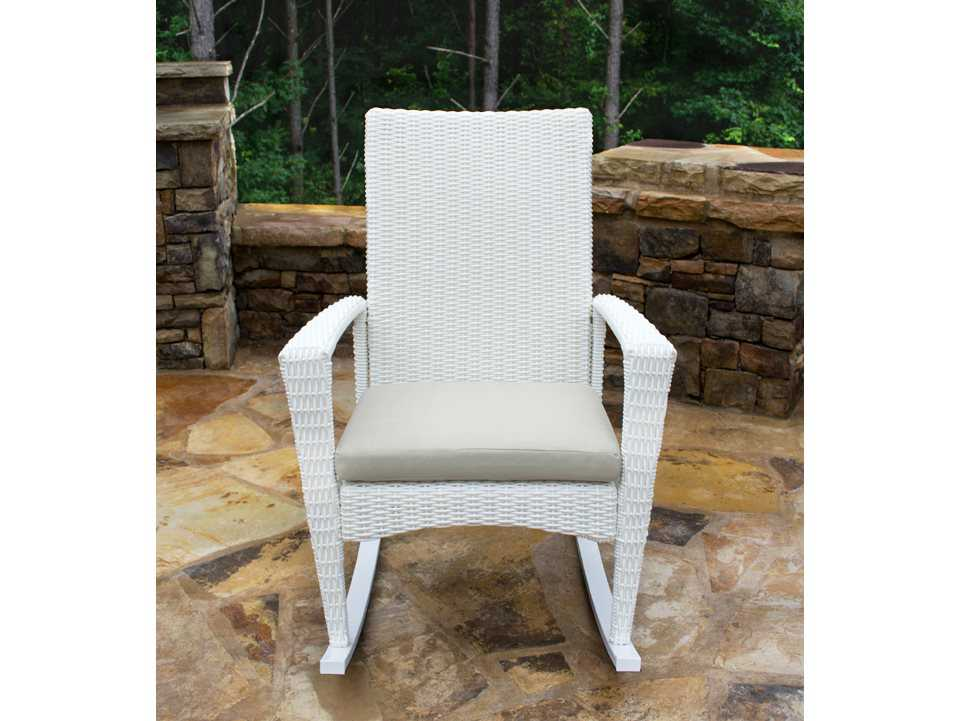 Tortuga Outdoor Bayview Wicker Cushion Rocking Lounge Chair BAY R MAGNOLIA