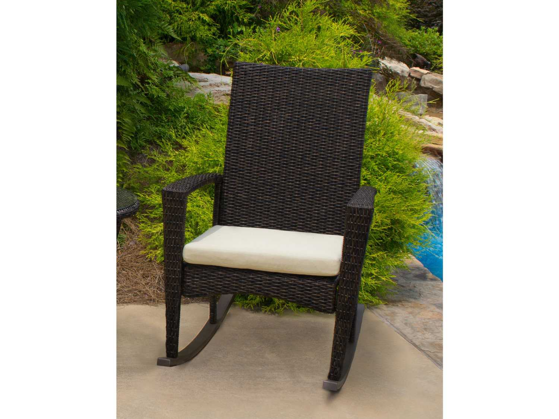 Tortuga Outdoor Bayview Wicker Cushion Rocking Lounge Chair BAY R PECAN