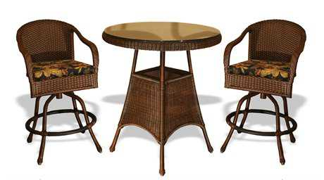 Tortuga Lexington Wicker 2 Person Cushion Bar Patio Dining Set