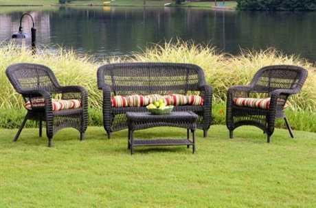 Tortuga Portside Wicker 4 Person Cushion Conversation Patio Lounge Set