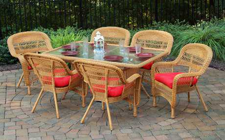 Tortuga Portside Wicker 6 Person Cushion Casual Patio Dining Set