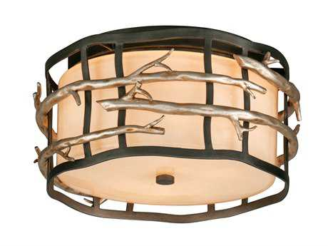 Troy Lighting Adirondack Graphite & Silver Two-Light Flush Mount Light