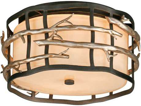 Troy Lighting Adirondack Graphite & Silver Two-Light Fluorescent Flush Mount Light Light
