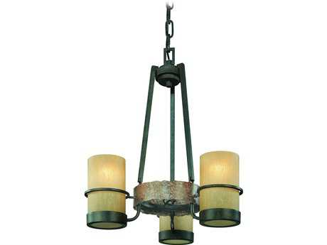 Troy Lighting Bamboo Bronze with Natural Slate Three-Light 18'' Wide Chandelier
