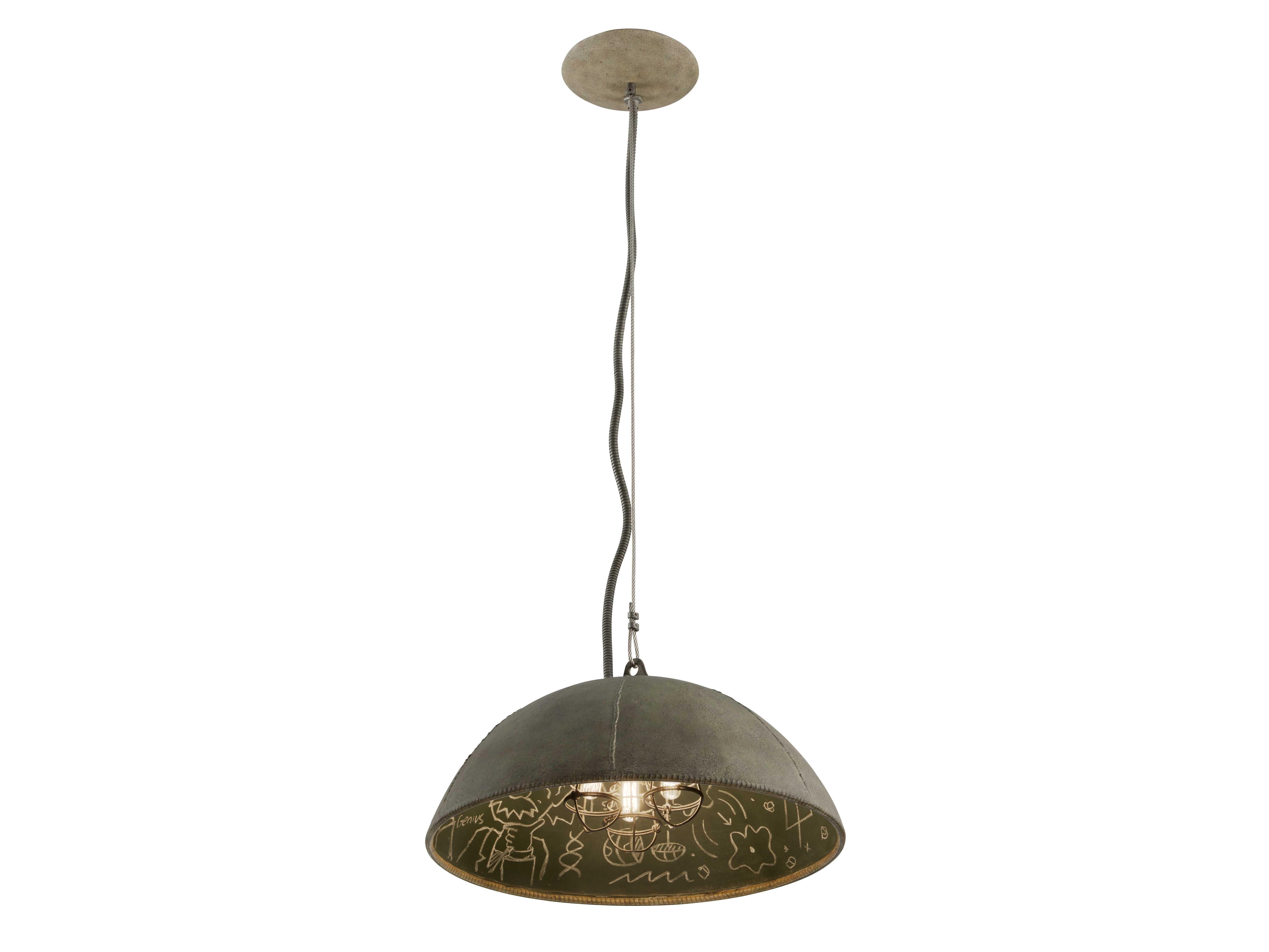Zinc Pendant Lighting : Troy lighting relativity salvage zinc with chalkboard interior three light pendant f