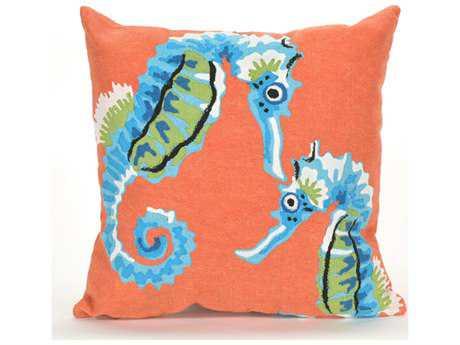 Trans Ocean Rugs Visions III Seashorse Orange & Blue Indoor / Outdoor Pillow 20'' Square - 7SC2S419944