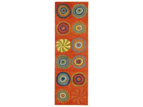 Trans Ocean Inca Modern Orange Hand Made Wool Geometric Area Rug - 9449-17-RUN