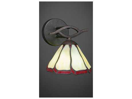 Toltec Lighting Revo Dark Granite with Honey & Burgundy Flair Tiffany Glass Wall Sconce