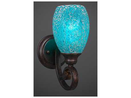 Toltec Lighting Curl Bronze with Turquoise Fusion Glass Wall Sconce