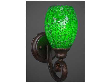 Toltec Lighting Curl Bronze with Green Fusion Glass Wall Sconce