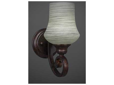 Toltec Lighting Curl Bronze with Zilo Gray Linen Glass Wall Sconce