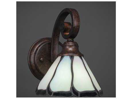 Toltec Lighting Curl Bronze with Pearl & Black Flair Tiffany Glass Wall Sconce