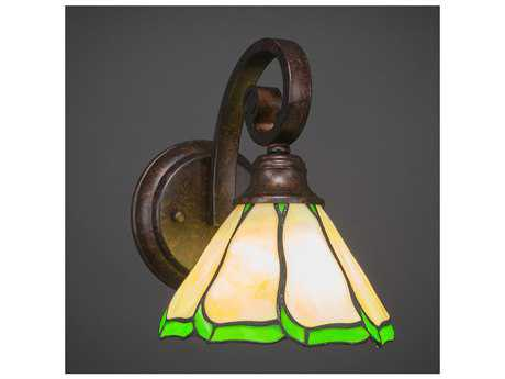 Toltec Lighting Curl Bronze with Honey & Hunter Green Flair Tiffany Glass Wall Sconce