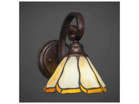 Toltec Lighting Curl Bronze with Honey & Brown Flair Tiffany Glass Wall Sconce