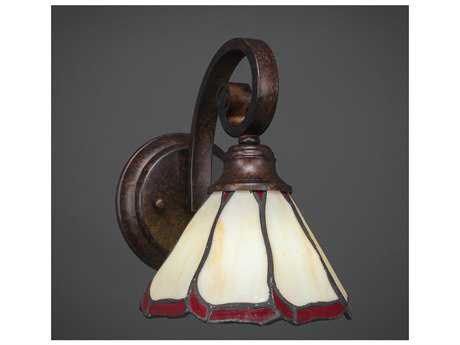 Toltec Lighting Curl Bronze with Honey & Burgundy Flair Tiffany Glass Wall Sconce