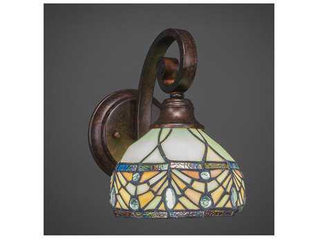 Toltec Lighting Curl Bronze with Royal Merlot Tiffany Glass Wall Sconce