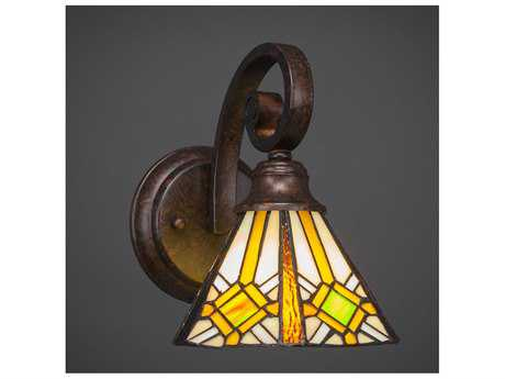 Toltec Lighting Curl Bronze with Hampton Tiffany Glass Wall Sconce
