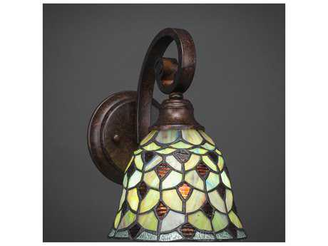 Toltec Lighting Curl Bronze with Crescent Tiffany Glass Wall Sconce