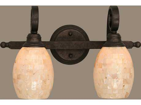 Toltec Lighting Curl Bronze & Seashell Glass Two-Light Vanity Light