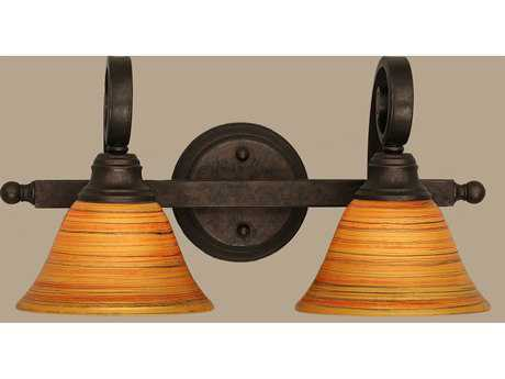 Toltec Lighting Curl Bronze & Firre Saturn Glass Two-Light Vanity Light
