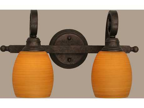 Toltec Lighting Curl Bronze & Cayenne Linen Glass Two-Light Vanity Light