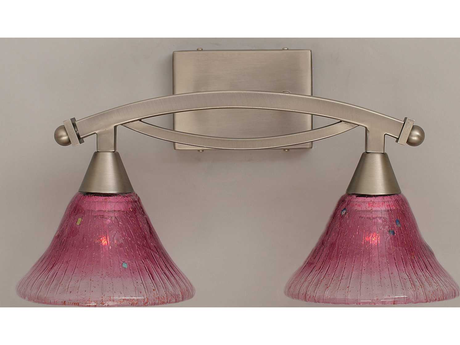 Shop Portfolio Paces 4 Light Brushed Nickel Cone Vanity: Toltec Lighting Bow Brushed Nickel & Wine Crystal Glass