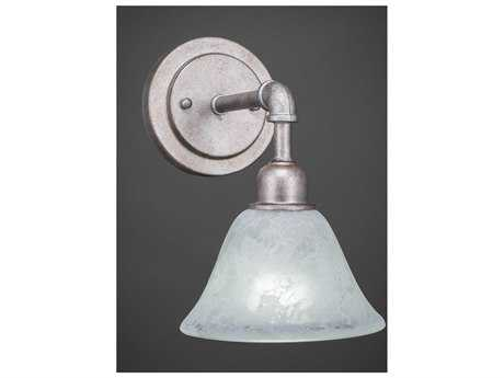 Toltec Lighting Vintage Aged Silver with White Marble Glass Wall Sconce